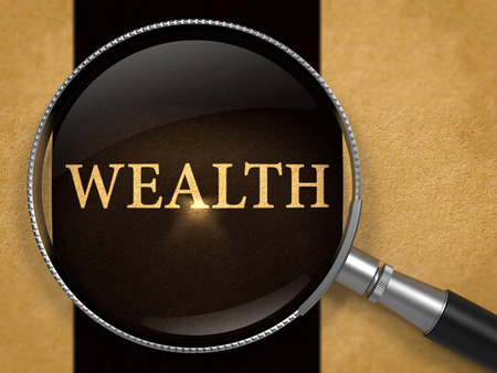 Wealth through Loupe on Old Paper with Black Vertical Line Background. 3D Render.