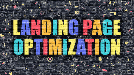 landing: Landing Page Optimization. Multicolor Inscription on Dark Brick Wall with Doodle Icons. Landing Page Optimization Concept in Modern Style. Landing Page Optimization Business Concept.