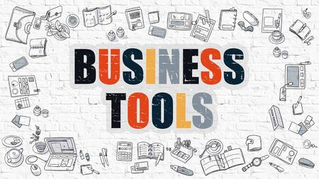 Business Tools Concept. Modern Line Style Illustration. Multicolor Business Tools Drawn on White Brick Wall. Doodle Icons. Doodle Design Style of Business Tools Concept.