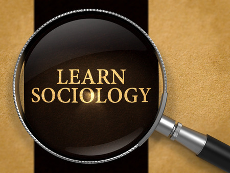 sociology: Learn Sociology through Loupe on Old Paper with Black Vertical Line Background. 3D Render.