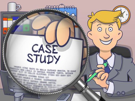 paper case: Man Sitting in Office and Holds Out a Paper with Concept Case Study. Closeup View through Lens. Multicolor Doodle Illustration.