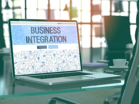 competitividad: Business Integration Concepto Primer en la p�gina de destino de la pantalla de ordenador port�til en la oficina moderna del lugar de trabajo. Imagen virada con enfoque selectivo. Render 3D.