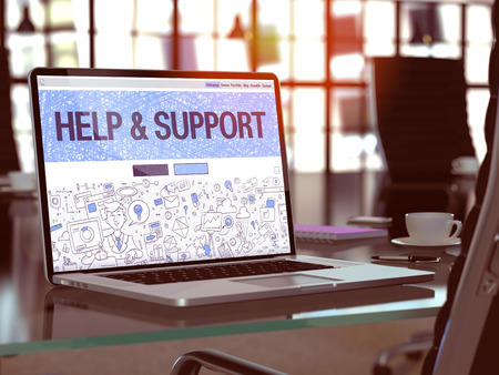 patronage: Help and Support Concept - Closeup on Landing Page of Laptop Screen in Modern Office Workplace. Toned Image with Selective Focus. 3D Render. Stock Photo