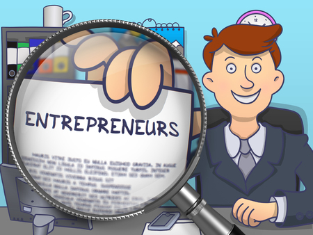 innovator: Entrepreneurs.  Officeman Welcomes in Office and Holding a Paper with Inscription through Magnifier. Colored Modern Line Illustration in Doodle Style.