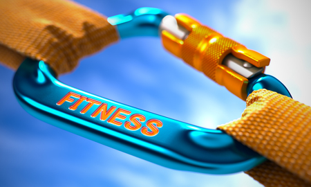 robustness: Fitness on Blue Carabine with a Orange Ropes. Selective Focus. 3D Render.