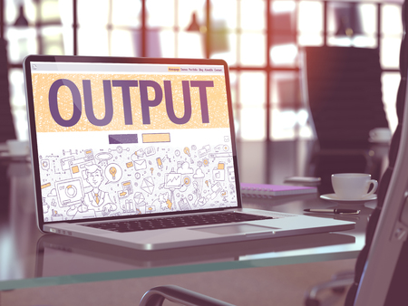 out of production: Output - Closeup Landing Page in Doodle Design Style on Laptop Screen. On Background of Comfortable Working Place in Modern Office. Toned, Blurred Image. 3D Render.