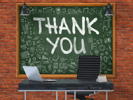 acknowledgment: Hand Drawn Thank You on Green Chalkboard. Modern Office Interior. Red Brick Wall Background. Business Concept with Doodle Style Elements. 3D. Stock Photo