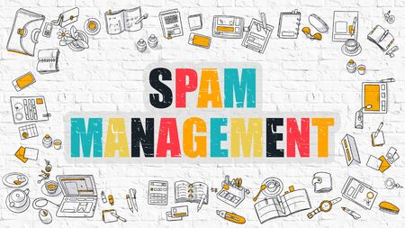unwanted: Spam Management - Multicolor Concept with Doodle Icons Around on White Brick Wall Background. Modern Illustration with Elements of Doodle Design Style.
