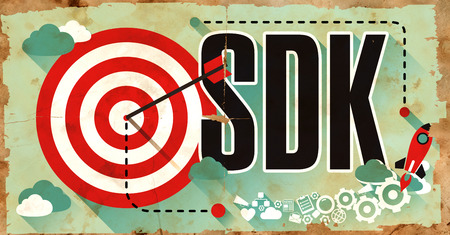 dissemination: SDK - Software Development Kit - Concept. Poster in Flat Design.
