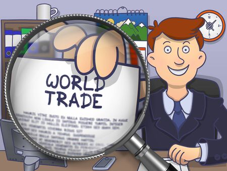 world trade: World Trade. Officeman Shows Paper with Text through Magnifier. Multicolor Doodle Style Illustration.