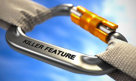 singularity: Killer Feature on Chrome Carabine with White Ropes. Focus on the Carabine. 3D Render.