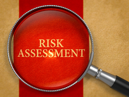 avoidance: Risk Assessment through Magnifying Glass on Old Paper with Crimson Vertical Line Background. 3D Render.