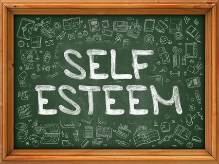self esteem: Self Esteem - Hand Drawn on Green Chalkboard with Doodle Icons Around. Modern Illustration with Doodle Design Style. Stock Photo