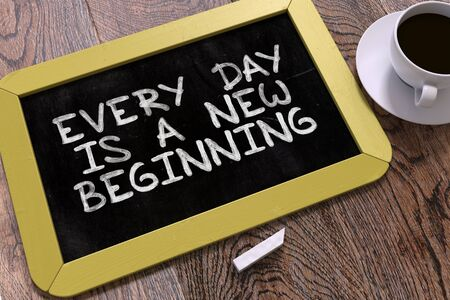 new beginning: Hand Drawn Every Day is a New Beginning Concept  on Small Yellow Chalkboard. Business Background. Top View. 3D Render.