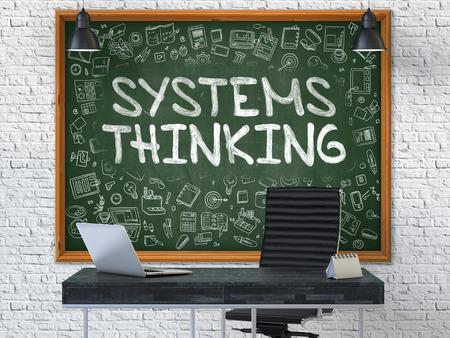 テキスト システム思考と緑の黒板は、近代的なオフィスのインテリアに白いレンガの壁にかかっています。イラスト落書きスタイル要素を持つ。3 D