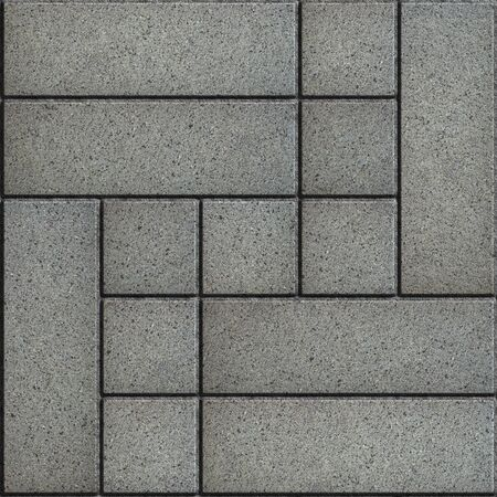 tileable: Gray Paving Slabs. Rectangular and Square Laid Out as a Geometric Pattern.  Seamless Tileable Texture.