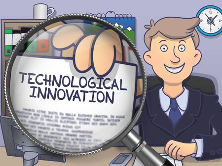 Officeman Welcomes in Office and Showing a Paper - Technological Innovation. Closeup View through Magnifier. Multicolor Doodle Style Illustration.