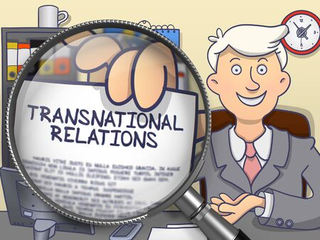 transnational: Transnational Relations on Paper in Mans Hand through Magnifying Glass to Illustrate a Business Concept. Multicolor Modern Line Illustration in Doodle Style. Stock Photo
