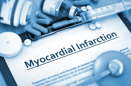 myocardial: Diagnosis - Myocardial Infarction On Background of Medicaments Composition - Pills, Injections and Syringe. Myocardial Infarction, Medical Concept with Selective Focus. 3D Render. Stock Photo