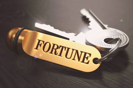 Circumstance: Keys to Fortune - Concept on Golden Keychain over Black Wooden Background. Closeup View, Selective Focus, 3D Render. Toned Image.