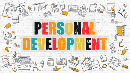 personal development: Personal Development - Multicolor Concept with Doodle Icons Around on White Brick Wall Background. Modern Illustration with Elements of Doodle Design Style. Stock Photo