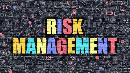 financial diversification: Risk Management Concept. Risk Management Drawn on Dark Wall. Risk Management in Multicolor. Risk Management Concept. Modern Illustration in Doodle Design of Risk Management.