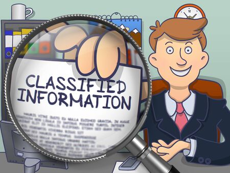 classified: Classified Information through Lens. Business Man Holding a Paper with Text. Closeup View. Multicolor Doodle Illustration. Stock Photo
