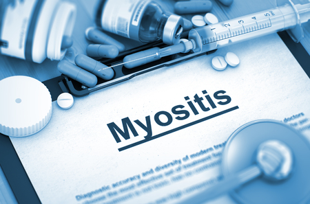 myopathy: Myositis - Medical Report with Composition of Medicaments - Pills, Injections and Syringe. 3D Render.