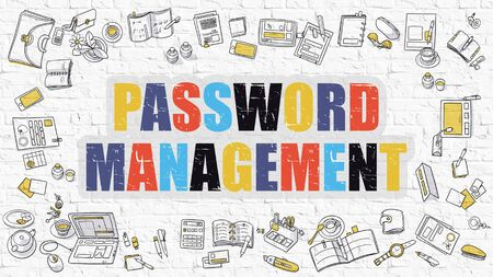 brickwall: Password Management. Multicolor Inscription on White Brick Wall with Doodle Icons Around. Modern Style Illustration with Doodle Design Icons. Password Management on White Brickwall Background. Stock Photo
