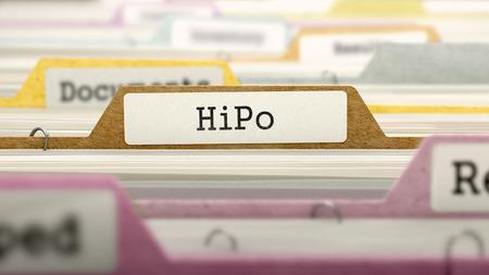 HiPo 개념 폴더에 여러 색상 카드 색인에 등록하십시오. 확대 사진보기입니다. 선택적 포커스입니다. 3D 렌더링합니다. 스톡 콘텐츠
