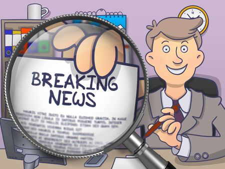 newscast: Business Man Welcomes in Office and Shows Text on Paper -Breaking News. Closeup View through Magnifying Glass. Multicolor Modern Line Illustration in Doodle Style. Stock Photo