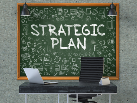 strategic plan: Green Chalkboard with the Text Strategic Plan Hangs on the Gray Concrete Wall in the Interior of a Modern Office. Illustration with Doodle Style Elements. 3D. Stock Photo