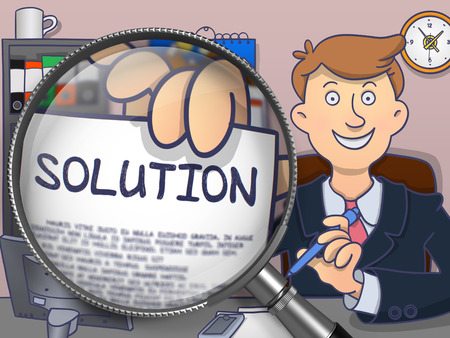 discretion: Business Man Welcomes in Office and Holding a Concept on Paper Solution. Closeup View through Magnifying Glass. Colored Doodle Illustration. Stock Photo