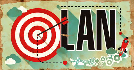 server technology: LAN - Local Area Network - Concept on Old Poster in Flat Design with Red Target, Rocket and Arrow.