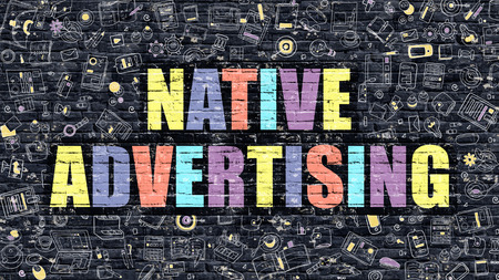 Native Advertising Concept. Modern Illustration. Multicolor Native Advertising Drawn on Dark Brick Wall. Doodle Icons. Doodle Style of  Native Advertising Concept. Native Advertising on Wall.
