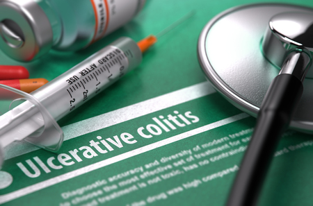 inflammatory bowel diseases: Ulcerative colitis - Medical Concept with Blurred Text, Stethoscope, Pills and Syringe on Green Background. Selective Focus. 3D Render.