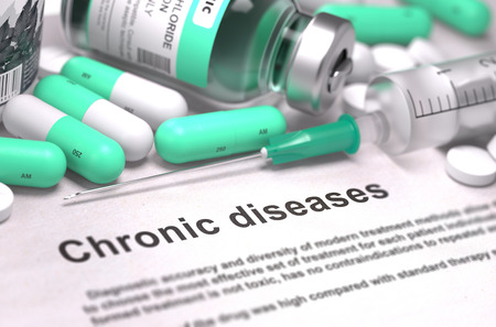Diagnosis - Chronic diseases. Medical Report with Composition of Medicaments - Light Green Pills, Injections and Syringe. Blurred Background with Selective Focus. 3D Render.