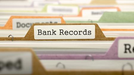 folder: Concepto registros bancarios en carpeta Registro de Índice de tarjeta multicolor. Primer punto de vista. Enfoque selectivo. Render 3D.