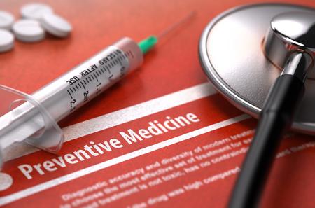 preventive medicine: Diagnosis - Preventive Medicine. Medical Concept with Blurred Text, Stethoscope, Pills and Syringe on Orange Background. Selective Focus. 3D Render. Stock Photo