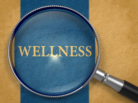 vertical wellness: Wellness Concept through Magnifier on Old Paper with Dark Blue Vertical Line Background. 3D Render.