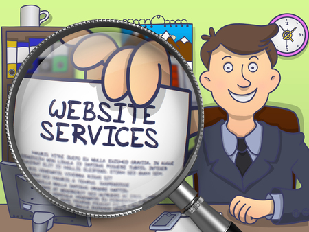 metasearch: Business Man Holding a Paper with Text Website Services. Closeup View through Magnifying Glass. Multicolor Doodle Illustration.