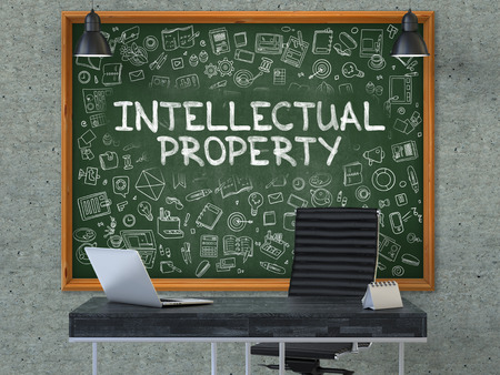 intellectual property: Intellectual Property Concept Handwritten on Green Chalkboard with Doodle Icons. Office Interior with Modern Workplace. Gray Concrete Wall Background. 3D.
