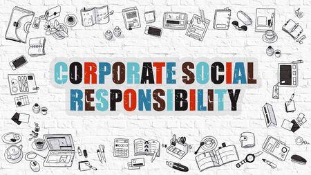 apoyo social: Concepto de Responsabilidad Social Empresarial. Ilustración estilo de línea moderna. Responsabilidad social de las empresas dibujado en la pared blanca de ladrillo. Diseño de estilo de bosquejo del concepto de responsabilidad social corporativa.