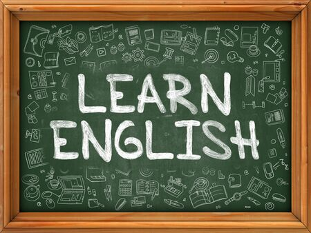 learn english: Learn English Concept. Line Style Illustration. Learn English Handwritten on Green Chalkboard with Doodle Icons Around. Doodle Design Style of  Learn English. Stock Photo