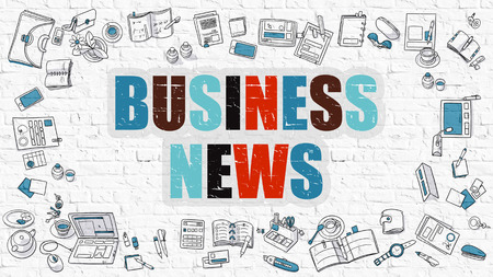 business news: Business News Concept. Business News Drawn on White Wall. Business News in Multicolor. Modern Style Illustration. Doodle Design Style of Business News. Line Style Illustration. White Brick Wall. Stock Photo