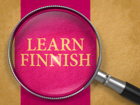 finnish: Learn Finnish Concept through Magnifier on Old Paper with Lilac Vertical Line Background. 3D Render.