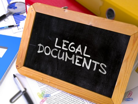 documentos legales: Hand Drawn Legal Documents Concept  on Chalkboard. Blurred Background. Toned Image. 3D Render.
