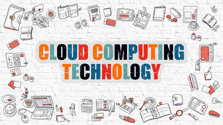 virtualization: Multicolor Concept - Cloud Computing Technology - on White Brick Wall with Doodle Icons Around. Modern Illustration with Doodle Design Style.