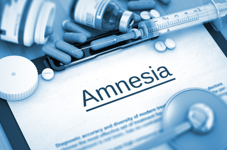 amnesia: Diagnosis - Amnesia On Background of Medicaments Composition - Pills, Injections and Syringe. Amnesia - Printed Diagnosis with Blurred Text. 3D Render. Toned Image.