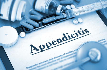 caecum: Appendicitis - Printed Diagnosis with Blurred Text. Appendicitis Diagnosis, Medical Concept. Composition of Medicaments. Appendicitis, Medical Concept with Selective Focus. 3D Render. Toned Image.